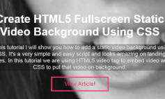 Create HTML5 Fullscreen Static Video Background Using CSS