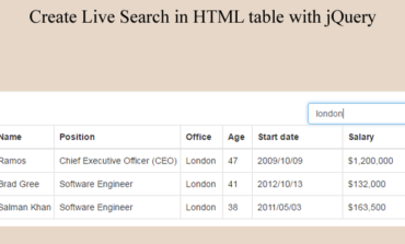 Create Live Search in HTML table with jQuery