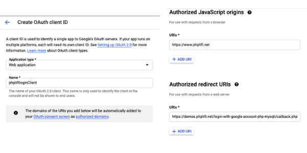 google project client id data
