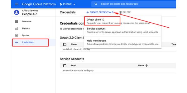 google project create client ids