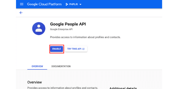 google project enable library