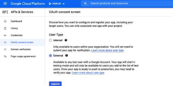 google project setting